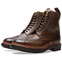 Grenson Fred C Brogue Boot Brown Grain Leather