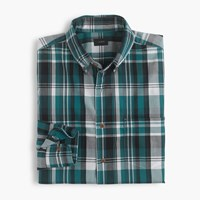 J.Crew Lightweight Cotton Shirt In Green Plaid Dark Water