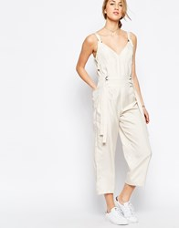 Asos Jumpsuit With Strapping Detail Cream