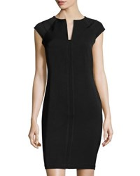 Neiman Marcus Military Solid Sheath Dress Black