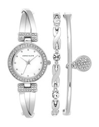 Anne Klein Stainless Steel Mother Of Pearl Dial Bracelet Watch And Bangle Set Silver