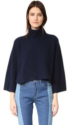 Edition10 Cropped Turtleneck Sweater Peacoat