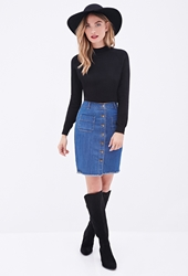 Forever 21 Button Down Denim Skirt Medium Denim
