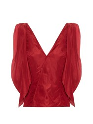 Rosie Assoulin Brush Ya Shoulder Off Silk Taffeta Top Red