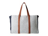 San Diego Hat Company Bsb1564 Mixed Paper Braid Tote With Paper Crochet Side Panels Blue Mix Tote Handbags