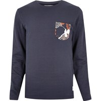 Only And Sons River Island Mens Blue Print Long Sleeve T Shirt