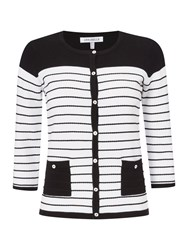 Annabelle Monochrome Striped Cardigan Black White