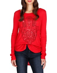Lucky Brand Long Sleeve Hi Lo Top Red