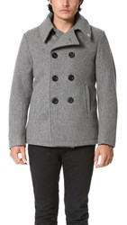 Gerald And Stewart By Fidelity Wool Quilt Lined Pea Coat Grey