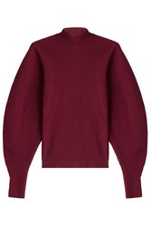 Thierry Mugler Wool Pullover With Voluminous Sleeves Red