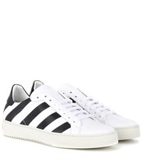 Off White Striped Leather Sneakers White