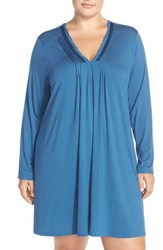Plus Size Women's Midnight By Carole Hochman 'Tulum' Pintuck Nightgown Dark Blue