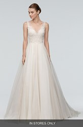 Women's Watters 'Janet' Embellished Tulle And Organza A Line Gown In Stores Only