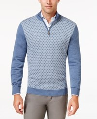 Tasso Elba Men's Pattern Quarter Zip Sweater Only At Macy's Moonlight Blue