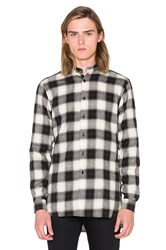 Naked And Famous Long Shirt Herringbone Ombre Check Black And White