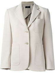 Theory Pocket Detail Single Breasted Blazer Nude And Neutrals