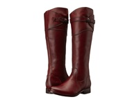 Frye Molly Button Tall Redwood Smooth Vintage Leather Cowboy Boots Burgundy