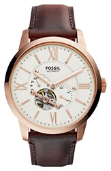 Fossil 'Townsman' Automatic Leather Strap Watch 44Mm Brown Cream