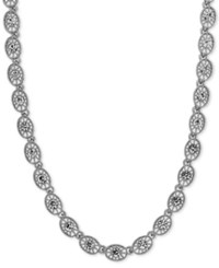 2028 Crystal Filigree Collar Necklace Silver