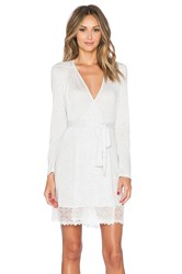 Only Hearts Club Short Robe With Lace Hem Light Gray