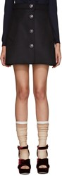 Miu Miu Navy Wool Floral Button Miniskirt