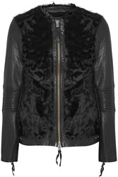 Muubaa Cowra Leather Paneled Shearling Biker Jacket