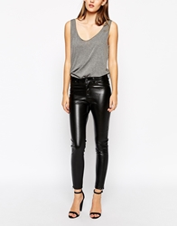 Dr. Denim Dr Denim Faux Leather Skinny Jeans With Ankle Zips Black