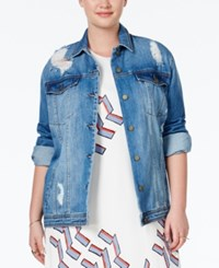 Rachel Rachel Roy Plus Size Deep Sky Wash Ripped Oversized Denim Jacket