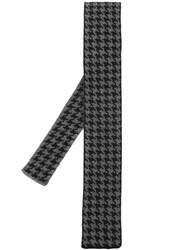 Eleventy Houndstooth Knitted Tie Grey