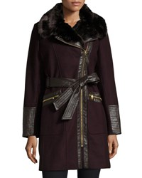 Via Spiga Wool Blend Asymmetric Zip Belted Coat Wine