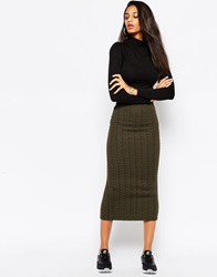 Asos Pencil Skirt In Cable Knit Texture Khaki
