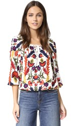 Alice Olivia Naya Embroidered Peasant Top Cream Multi
