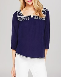 Two By Vince Camuto Embroidered Gauze Peasant Blouse