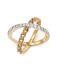 Bloomingdale's Diamond Crossover X Band Ring In 14K Yellow Gold .75 Ct. T.W. White Gold