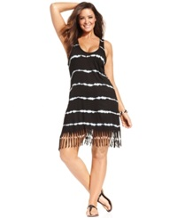Raviya Plus Size Tie Dye Striped Dress Cover Up Women's Swimsuit Black