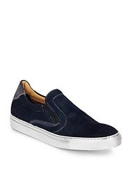 Robert Graham Rolo Calf Hair And Leather Slip On Sneakers Midnight