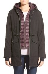 Dkny Hooded Soft Shell Jacket With Inset Vest Black