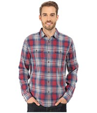 Lucky Brand Jon Workwear Shirt Indigo Red White Men's Long Sleeve Button Up Brown