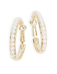 Catherine Stein Faux Pearl Hoop Earrings 1.25 In White