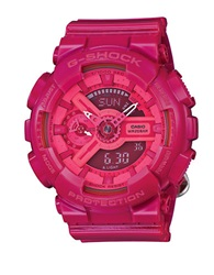 G Shock Baby G S Series Hot Pink Stainless Steel And Resin Strap Watch