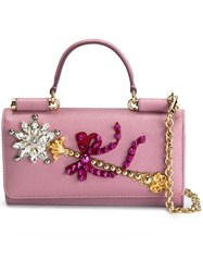 Dolce And Gabbana Mini 'Von' Wallet Crossbody Bag Pink Purple