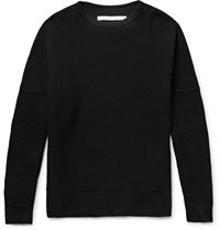 White Mountaineering Stretch Jersey Trimmed Waffle Knit Cotton Sweater Black