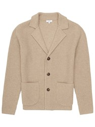 Reiss Iceland Ribbed Cardigan Oatmeal
