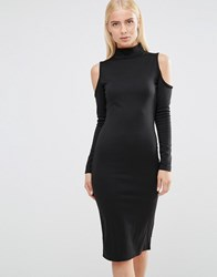Club L Cold Shoulder Bodycon Dress With Zip Detail Black