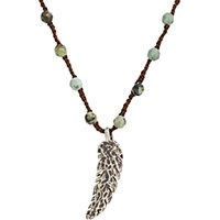 Feathered Soul Men's Oxidized Silver Feather On Turquoise Bead And Silk Cord Turquoise