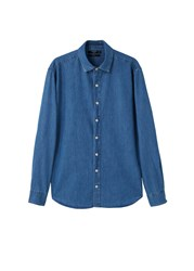 Mango Slim Fit Medium Denim Shirt Blue