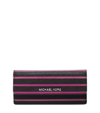 Michael Kors Florence Striped Saffiano Leather Wallet Black Deep Pink