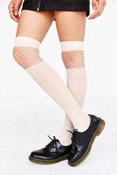 Urban Outfitters Pattern Nylon Over The Knee Sock Ivory