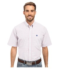 Cinch Short Sleeve Plain Weave Print White Men's Clothing