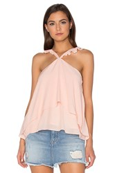 J.O.A. Sleeveless Ruffle Blouse Peach